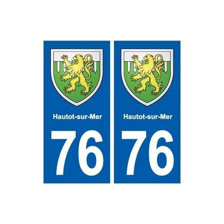 76 Hautot-sur-Mer blason autocollant plaque stickers ville arrondis