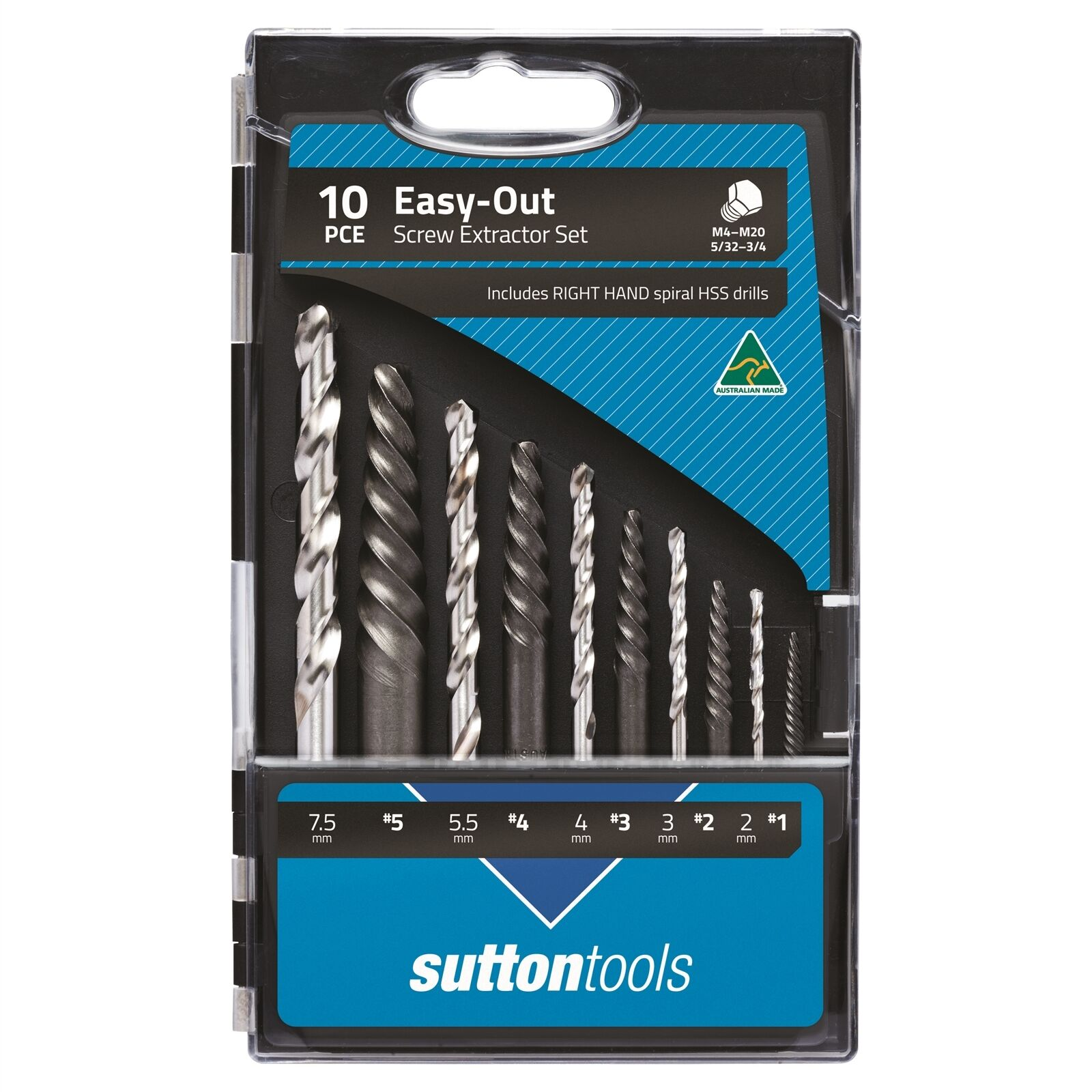 Sutton Tools SCREW SCREW SCREW EXTRACTOR SET 10Pcs Square End,Extragripping Power AUS Made 3ef214
