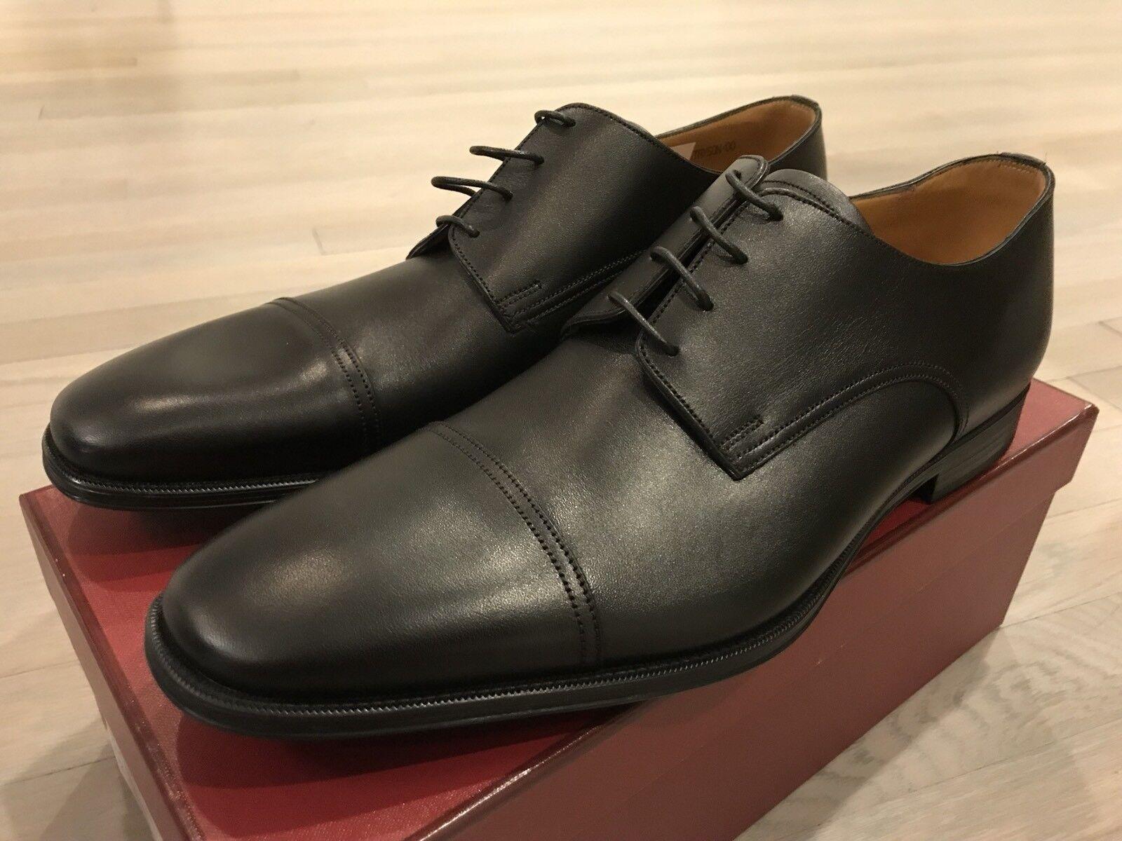 600   Bally Tayson Negro Llano Cordones Zapatos de EE. UU. hecho En Suiza