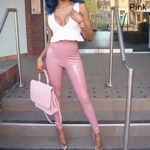 Women Latex PU Leather Trousers Skinny High Waist Leggings Wet Look Pencil Pants