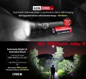 Klarus-G20L-Power-Taschenlampe-3000-Lumen-USB-Aufladbar-Akku-Kabel-Halter