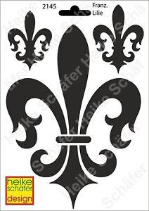 Schablone-Stencil-A5-098-2145-Franzoesische-Lilie-Neu-Heike-Schaefer-Design