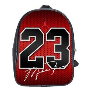 c4fa6c344e8be Image is loading Michael-Jordan-23-Bulls-Leather-School-Backpacks-Laptop-