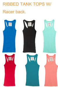 Women-039-s-Ribbed-Must-Have-Tank-Top-with-Racerback-Many-Colors-S-M-L