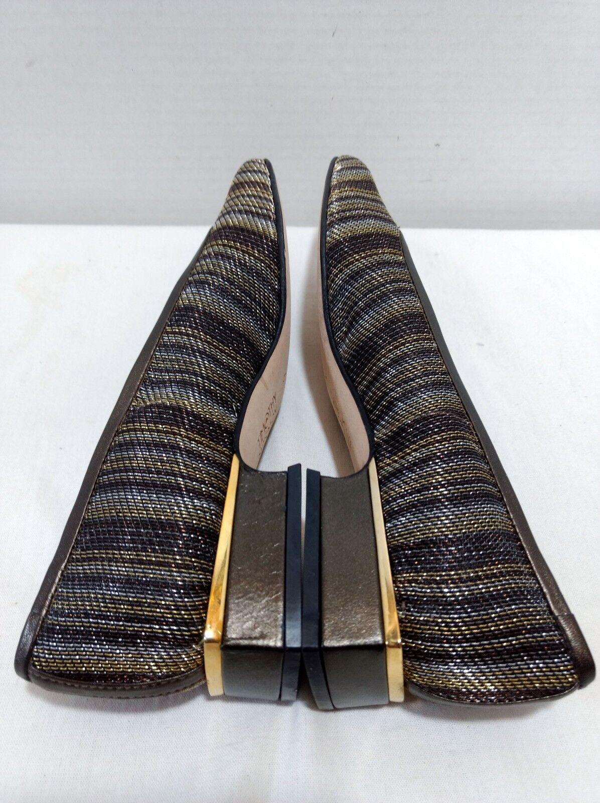 NEW Timothy Hitsman Hitsman Hitsman 6 Metallic Multi-Farbe Gold Silver Stripe Leder Round Toe 13395a