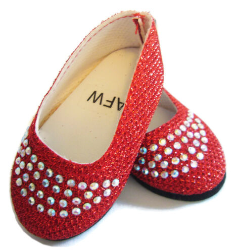 """For 18/"""" American Girl Doll Clothes VALENTINE/'S DAY Red Sparkle Shoes Rhinestones"""