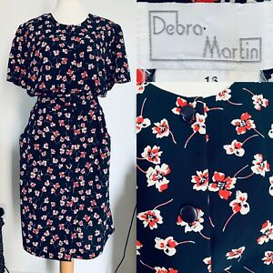 Debra Martin Navy Floral Vintage Summer Dress Button Up Pockets 1980s Size 16