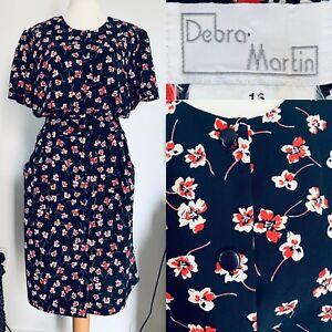 Debra-Martin-Navy-Floral-Vintage-Summer-Dress-Button-Up-Pockets-1980s-Size-16