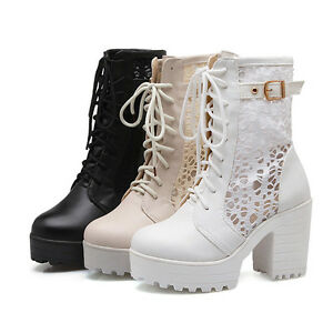 Ladies-Punk-Gothic-Lace-Up-Chunky-Heels-Platform-Ankle-Boots-Shoes-Combat-Boot