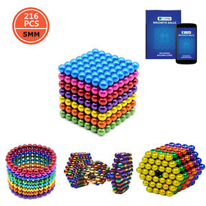 Nouveau-216-pcs-Magnetique-Couleur-BALL-Neodymium-Bead-Magnetique-Cube-Vendeur-Britannique