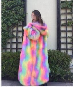 Noble Jacket Outwear Fur Blandet Rainbow Trench Hooded Coat Kvinder Mgic Parka qWwRn6z0