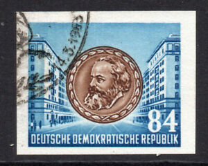 East Germany 84pf Imperf Stamp Ex Miniature Sheet c1953 Mint Hinged (8620)