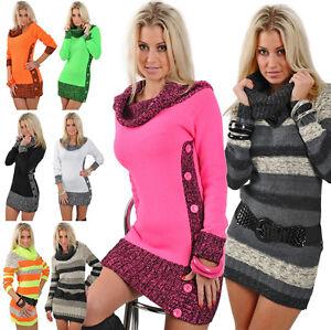 Strickkleid-Pulli-Neon-Longpulli-Carmen-Longpullover-Pullover-Mini-Kleid-Neu