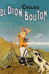 DeDion Bouton Bicycle Lady Dog Sea Cycle Bike Vintage Poster Repro FREE S//H