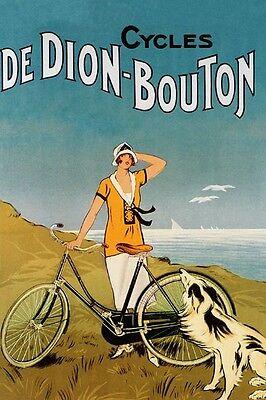 DeDion Bouton Bicycle Lady Dog Sea Cycle Bike Vintage Poster Repro FREE S/H