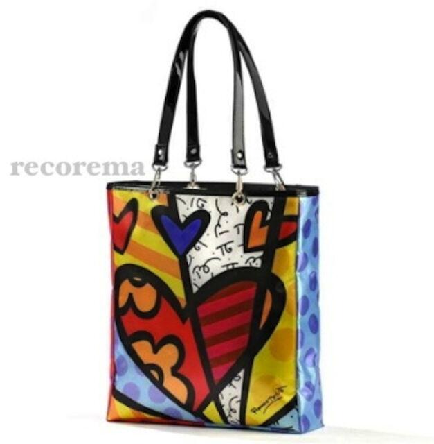 Romero Britto Satin Tote Bag Heart