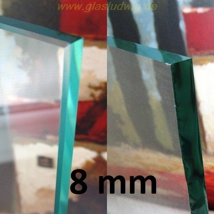Glasscheibe 8 mm Klarglas - Glasplatte nach Maß (ZE   m² + KaGe   m²)