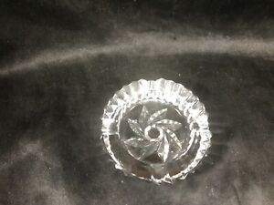 "Vintage Clear Crystal Glass 3-1/4"" Ashtray"