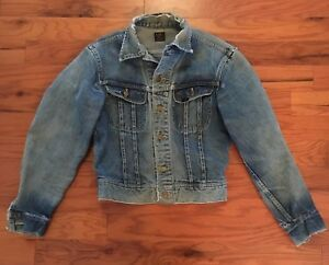 a5863737 Vintage Well Worn Distressed Lee Sanforized 101-J Denim Jacket Union ...