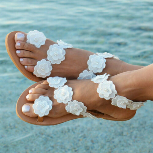 Womens Summer Boho Flower Sandals Holiday Beach Flip Flop Flat Shoes Size 5-10