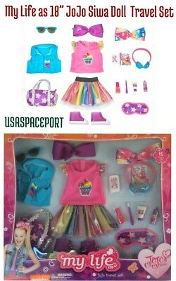 "2018 HOT TOY My Life as 18"" JOJO Siwa Doll 15-piece TRAVEL SET Dance Outfit Gear"