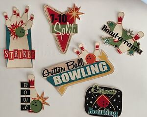Set-Of-6-Bowling-Patches-Fun-Sayings-Strikes-Pins-Iron-On-Fabric-Appliques