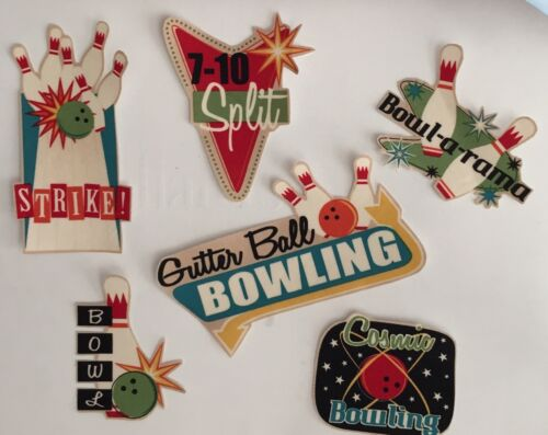 Iron On Fabric Appliques Set Of 6 Bowling Patches -Fun Sayings Strikes Pins