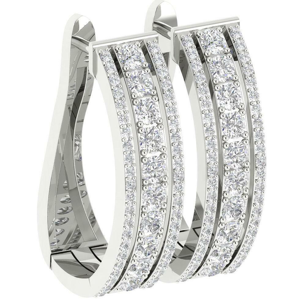 600405c68 Hoop Earring Natural Diamond I1 G 3.50 Ct 14K White gold Prong Set Appraisal