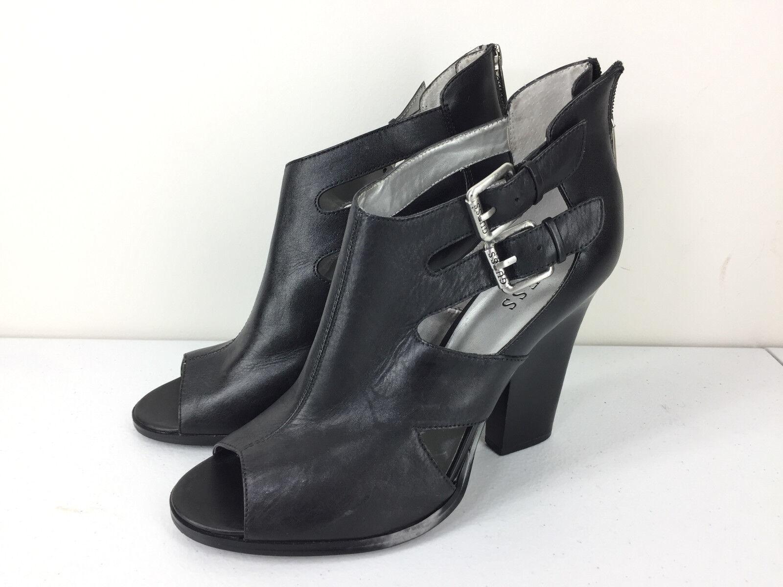 Guess 10 Black Leather Peep Toe High Heel Booties sandals EUC