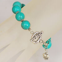 Gorgeous Blue Magnesite Turquoise Round Bead Bracelet W/silver Tone Toggle 8.5