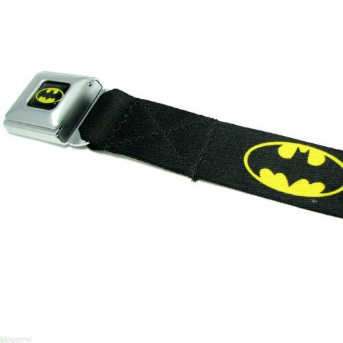 Batman DC Comics Black Yellow Licensed Seatbelt Seat Belt Style Men Buckle Down