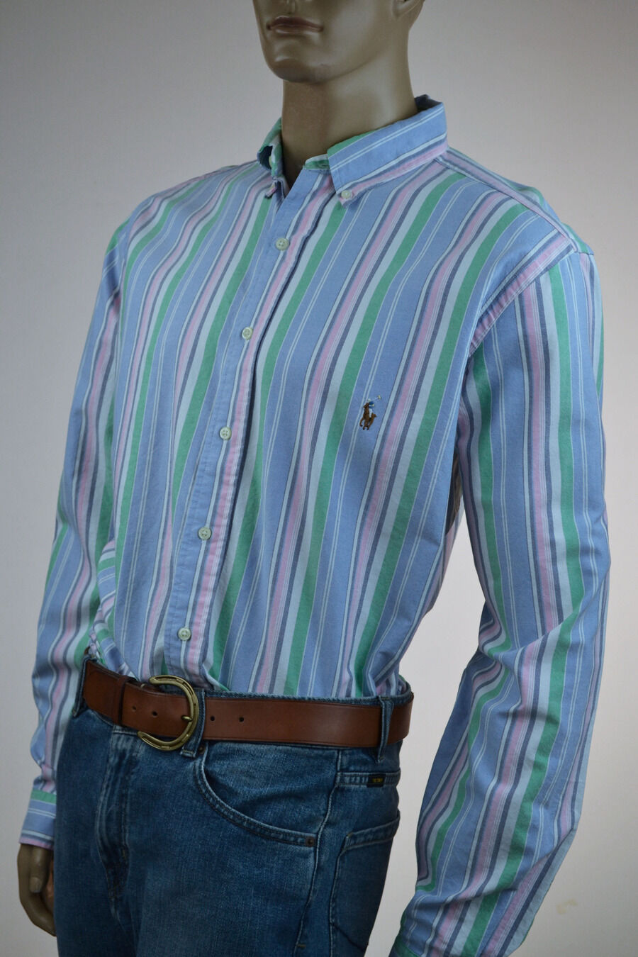Ralph Lauren Classic Fit Pink bluee Stripe Long Sleeve Shirt Pony-Large Tall- NWT