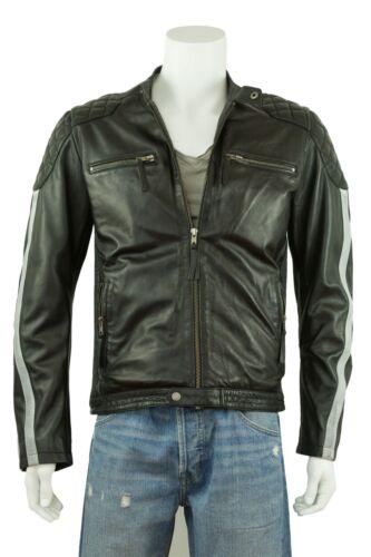Cowhide Leather Rock Grey Osx Jacket Stripe Black Biker Men New Bike w4qvTFXSyP