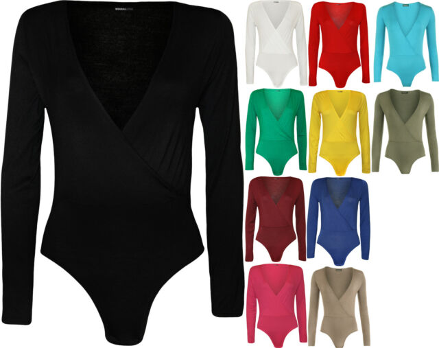 New Womens Wrap Over V Neck Plunge Ladies Long Sleeve Bodysuit Leotard Top 8-14