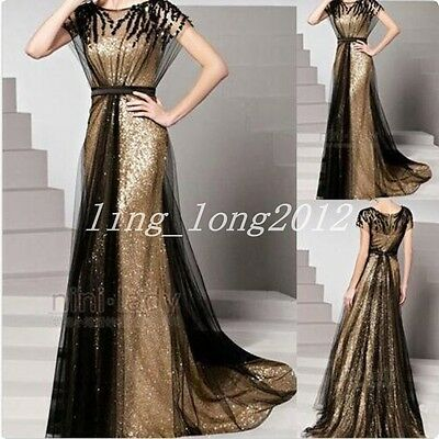 Gold Lady Evening Dress Party Bride Prom Gown Lace Formal Twinkl Long Cocktail