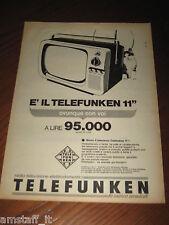 *71=TELEFUNKEN TV TELEVISORE=ANNI '60=PUBBLICITA'=ADVERTISING=WERBUNG=PUBLICITE=