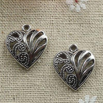 Free Ship 200 pieces tibetan silver heart charms 21x19mm #025