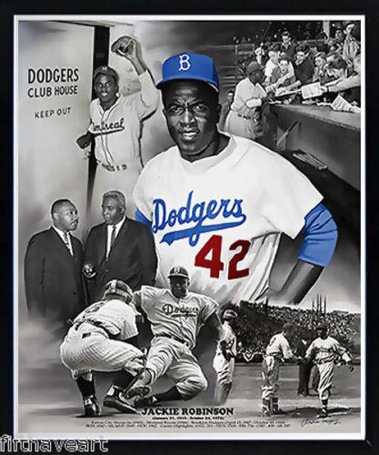 Jackie Robinson Brooklyn Dodgers Poster Custom Framed Print High Quality Display