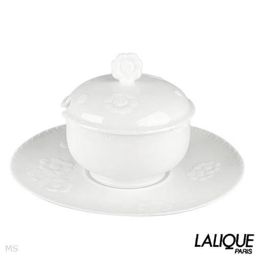 LALIQUE SAUCE BOWL PLATE Set 2 Fleurs Modèle 8173000