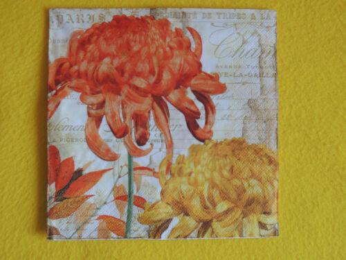 5 Servietten Blumen CHRYANTHEMES Schrift 1//4 Serviettentechnik orange gelb