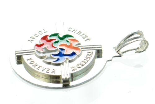 """Solid925 Sterling Great Jubilee 2000 /""""Christ,Yesterday Forever,Today/"""" Pendant ."""