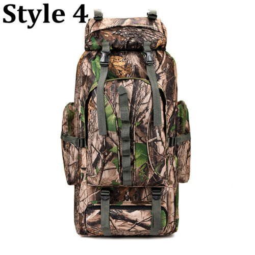 80L Outdoor Camouflage Backpack Military Army Rucksack Tactical Hiking Bag Large