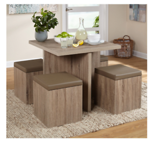 Image is loading Compact-Dining-Set-Studio-Apartment-Storage-Ottomans-Small- : compact kitchen table sets - pezcame.com