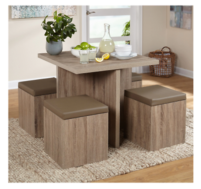 Compact Dining Set Studio Apartment Storage Ottomans Small ...