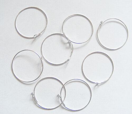 25mm Wine Glass Charm Rings//Earring Hoops Wedding Hen Party 25 x Open End