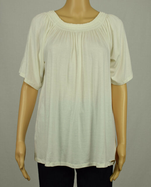 ac5550753792 Michael Kors Womens Ivory Cream Smocked Off-The-Shoulder Peasant Blouse Top  L