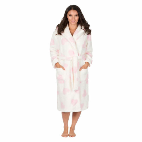 Ladies Heart Printed HOODED Soft Warm Fleece Dressing Gown HOT PINK or CREAM