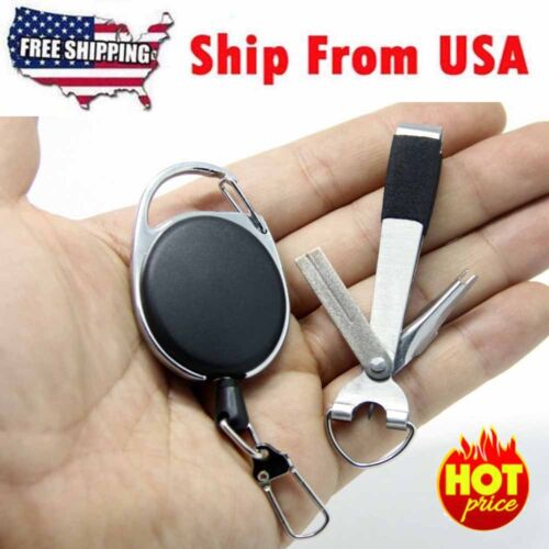Quick Knot Tool 4 in 1 Fly Fishing Clippers Line Nipper Tying w/ Zinger US STOCK