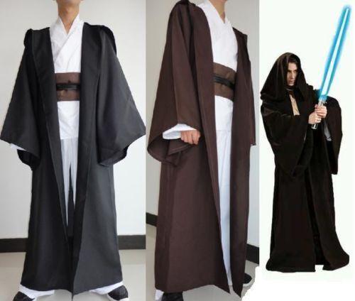 STAR WARS Jedi Knight Brown Black Hooded Cape Cloak Hero Costume Cosplay