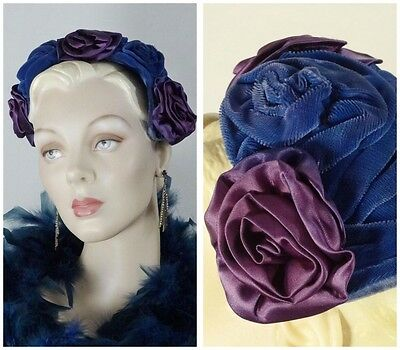 1940s Cocktail Hat Blue Velvet and Purple Satin Roses One Size #1230